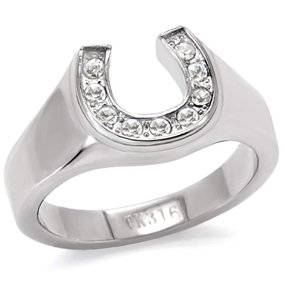 Stainless Steel Wide Band Horseshoe Ring