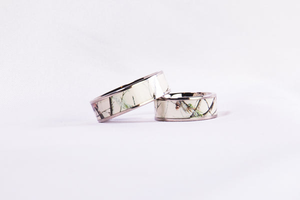 White Snow Camo Titanium Ring