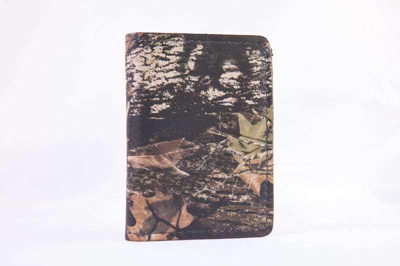 Mossy Oak Camo Foldover Leather Money Clip