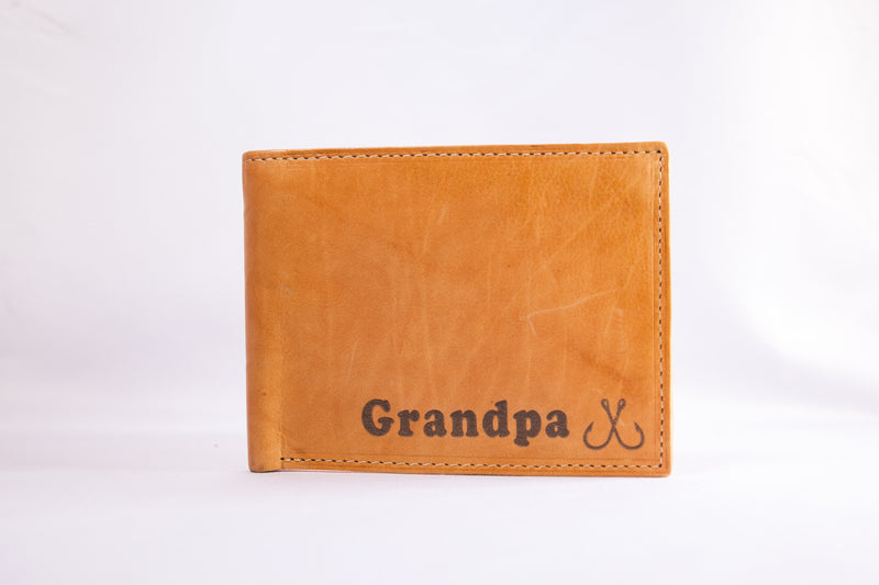 Custom Engraved Premium Leather Bi-fold Wallet with Symbol
