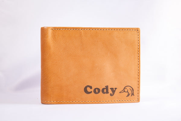 Custom Engraved Leather Wallet with Symbol
