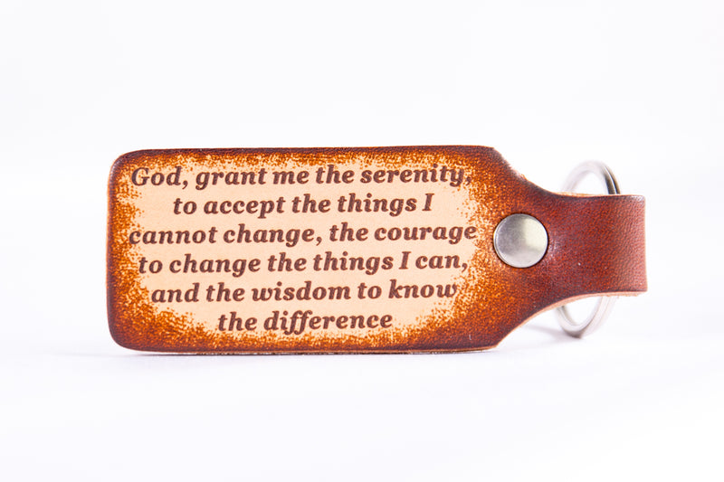 Serenity Prayer Custom Leather KeyChain