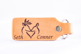 Custom Snuggling Deer Leather Keychain