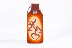 Buck and Doe Deer Heart Custom Leather KeyChain