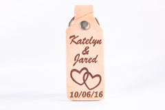 Personalized Leather Keychain with Names & Date
