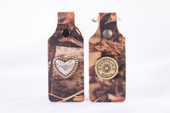 Camo Leather Heart Concho ShotGunShell Concho KeyChain Set