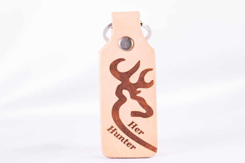 Her Hunter and His Trophy Custom Leather KeyChain Set
