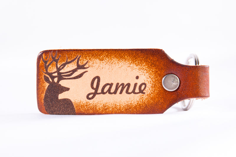 Big Buck Deer with Personalized Name Custom Leather KeyChain