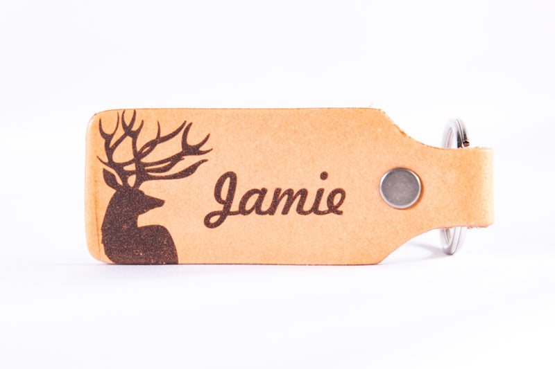 His Buck and Her Doe Personalized Custom Leather KeyChain Set