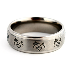 Snuggling Buck and Doe Titanium Ring