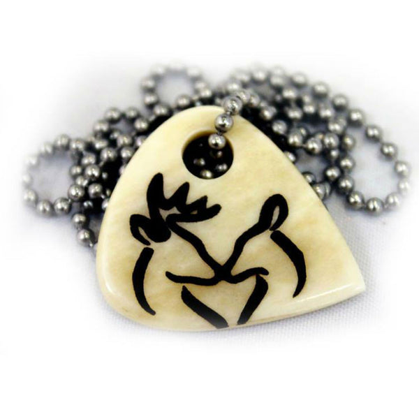 Snuggling Buck Doe Guitar Pick Necklace