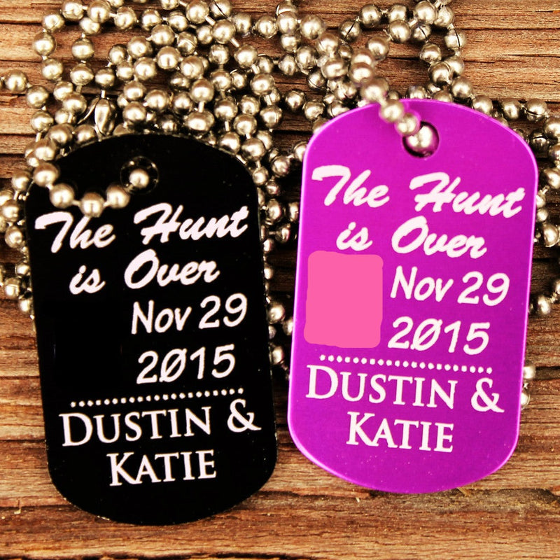 """The Hunt Is Over"" Single Customized Dog Tag Necklace"