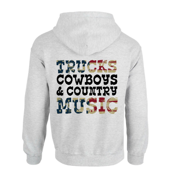 Trucks, Cowboys & Country Music American Flag Hoodie