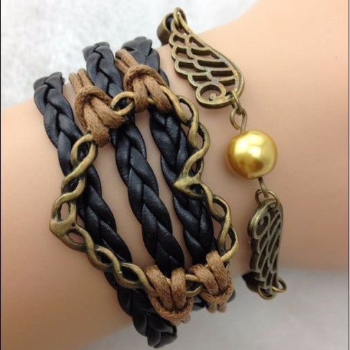 Wings, Heart, Gold Bead with Black Strands Bracelet