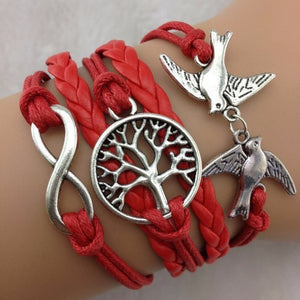 Red Stacked Birds Tree Infinity Bracelet