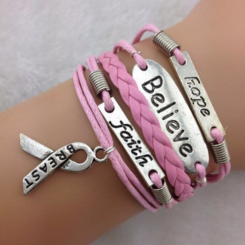 Hope, Believe, Faith, Ribbon Stacked Bracelet