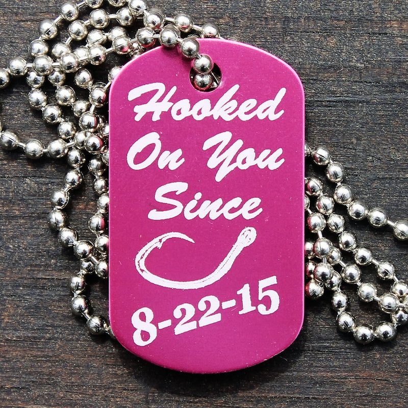 """Hooked on You"" Dog Tag Necklace"