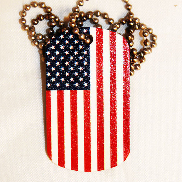 American Flag Dog Tag Necklace