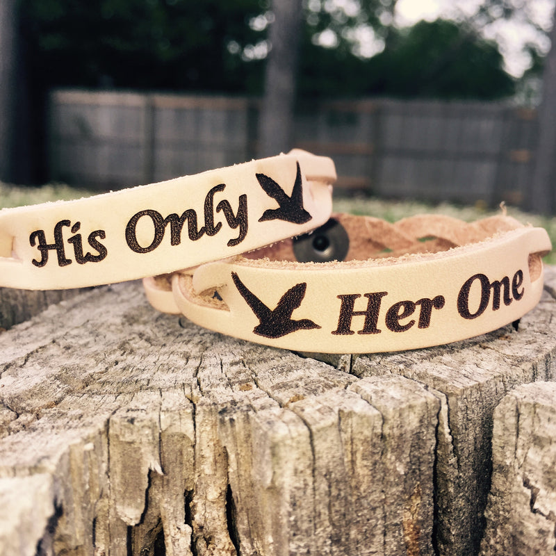 Her One His Only Couples Leather Bracelets