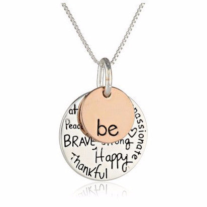 "Two-Tone ""Be"" Graffiti Charm Necklace"
