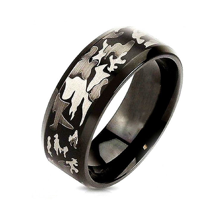 Black Camouflage Stainless Steel Ring