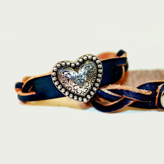 Blue Braided Leather Bracelet with Silver Heart