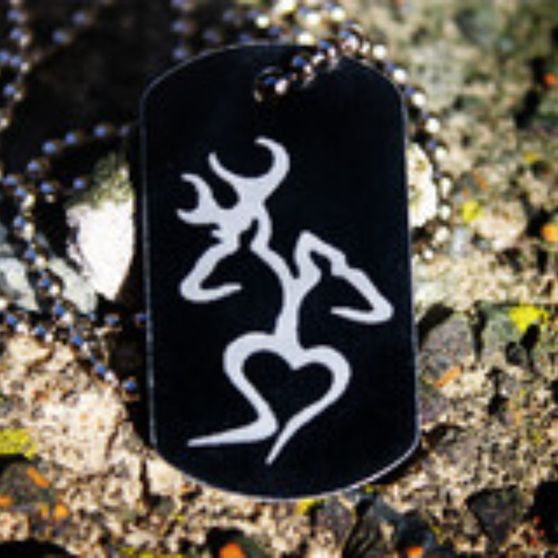 Buck and Doe Heart Dog Tag