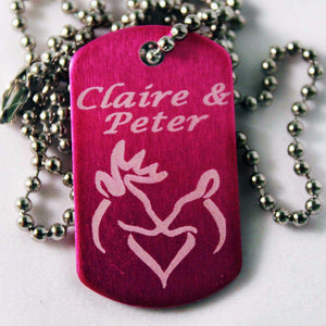 """Buck and Doe"" customized Dog Tag with Your Names Necklace"