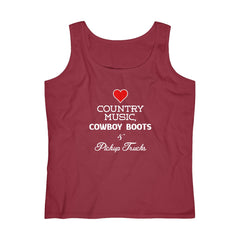 Women's Country Music, Cowboy Boots and Pickup Trucks Tank