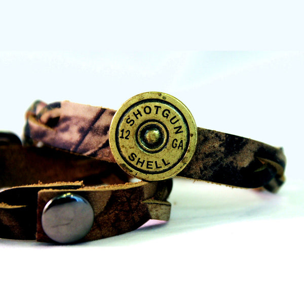 Braided Camo with Shotgun Shell Leather Bracelet