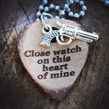 Heart Of Mine Pistol Guitar Necklace