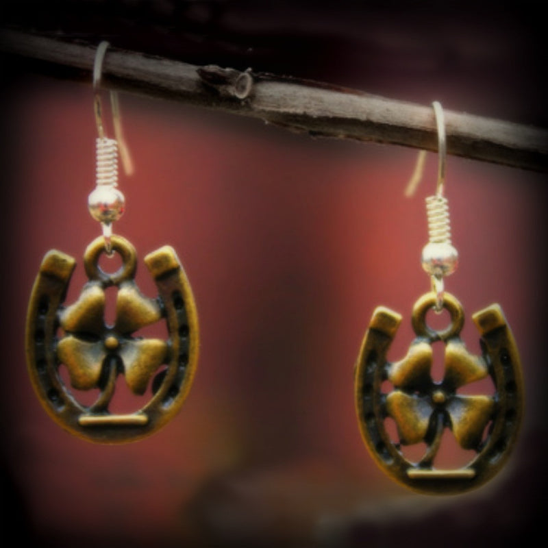 Horseshoe and Clover Earrings