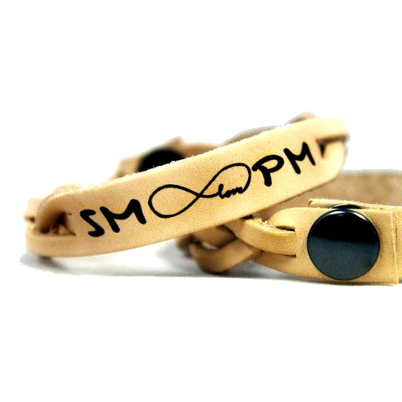 Your Initials and Infinity Love Leather Bracelet