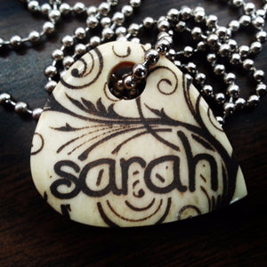 Custom Personalized Floral Hand Crafted Cow Bone Guitar Pick Necklace
