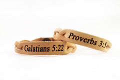 Choose Your Bible Verse Hand Crafted Leather Bracelet