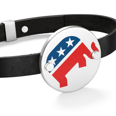 Republican Rearing Elephant Leather Bracelet