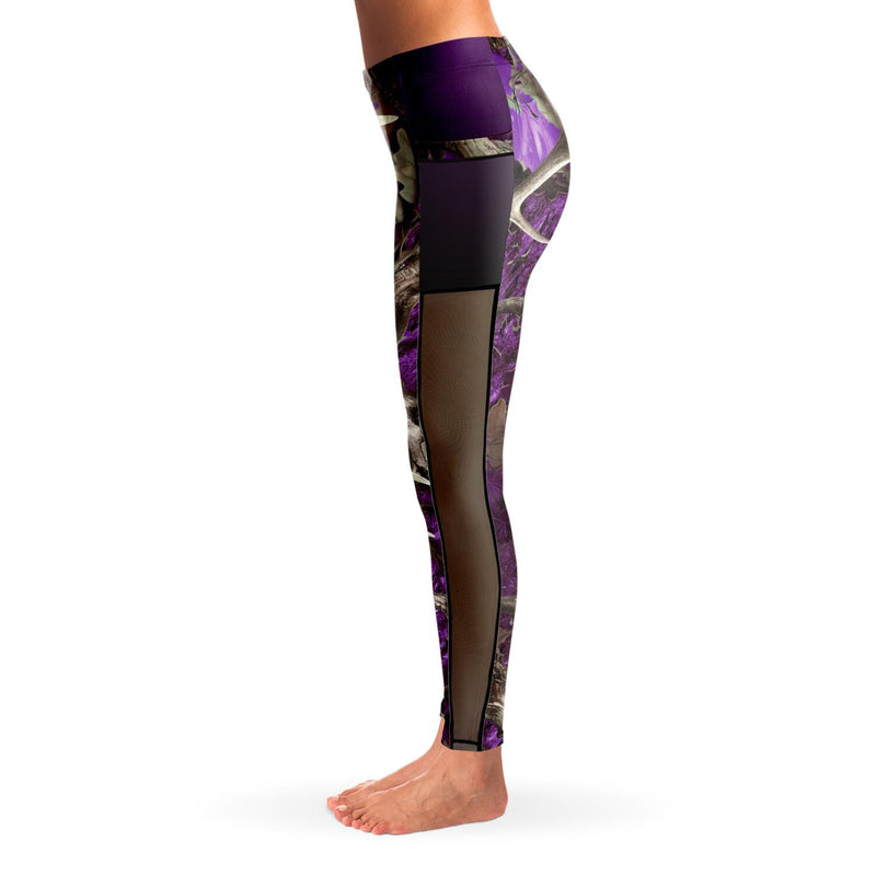 Camo & Country Women's Purple Camo Mesh Pocket Leggings