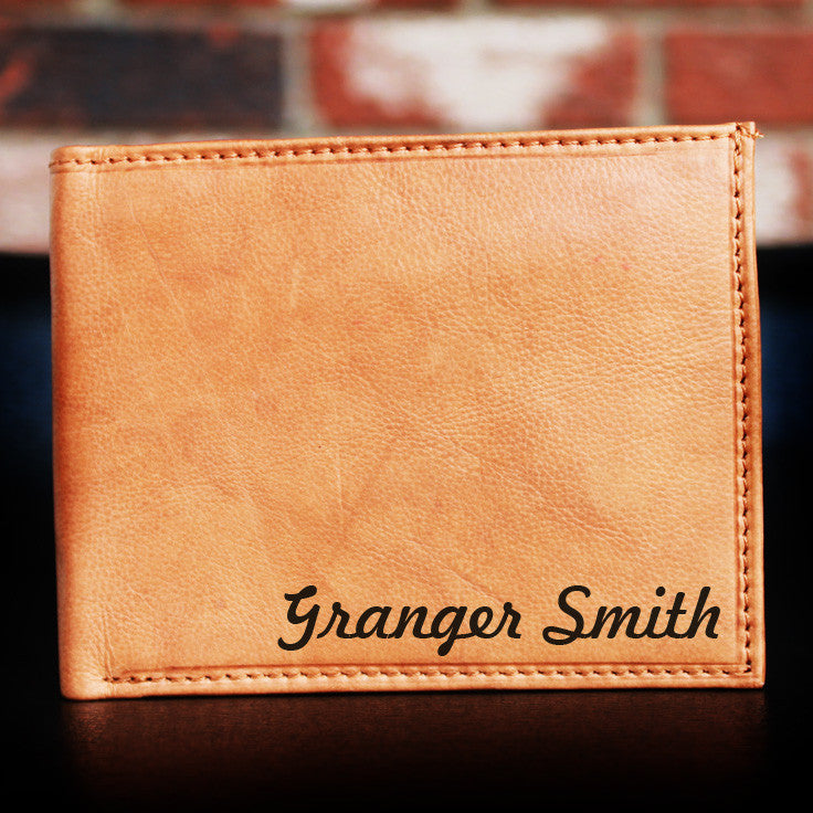 Custom Engraved Premium Leather Bi-fold Wallet