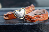 Braided Brown with Heart leather bracelet