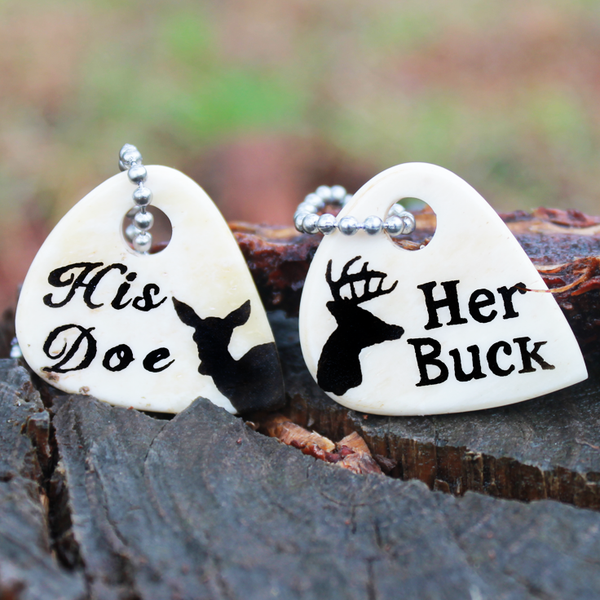 Her Buck His Doe Engraved Bone Guitar Necklaces