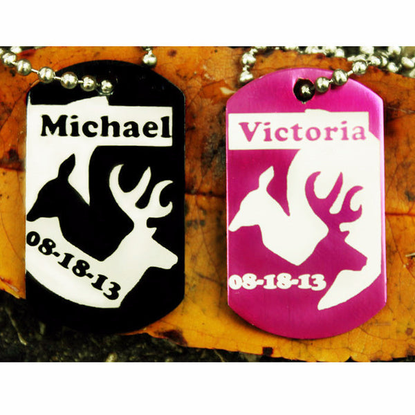 Interlocking Deer Custom Dog Tag Necklace