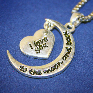 Moon & Back Two Piece Heart Necklace