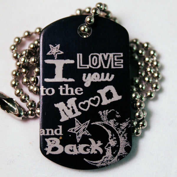 """To The Moon""  Dog Tag Necklace"
