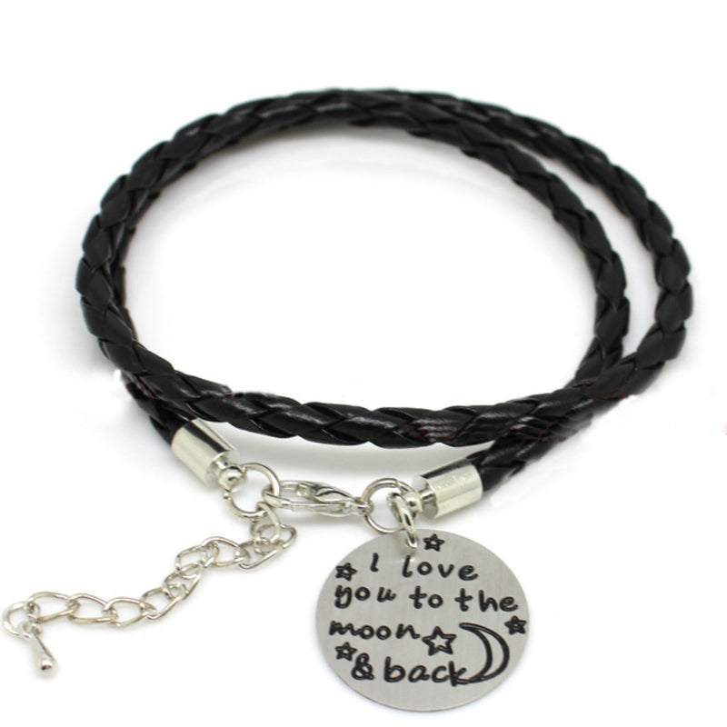 "Black Leather ""Moon and Back"" Bracelet"