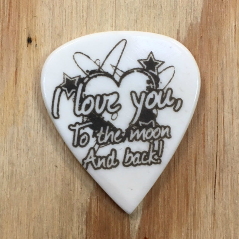 I Love You To The Moon Hand Crafted Cow Bone Guitar Pick