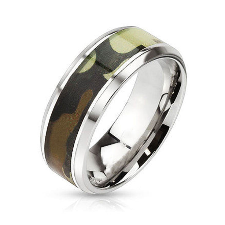 Green and Brown Camouflage Stainless Steel Ring