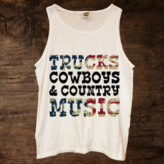 Trucks Cowboy & Country Music American Flag Tank (sizes run big)