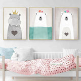 Adorable Cartoon Animal Canvas Print (Multiple Sizes)