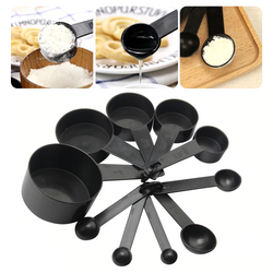 10 Piece Set Black Measuring Spoons and Scoops