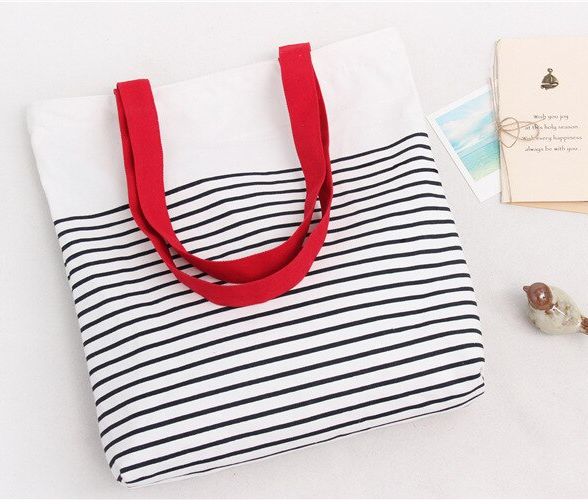 Striped Canvas Cotton Handbag